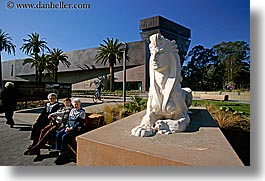 arts, buildings, california, de young, de young museum, golden gate park, horizontal, lions, museums, san francisco, statues, west coast, western usa, photograph