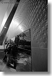black and white, buildings, california, de young, de young museum, golden gate park, museums, san francisco, textured, vertical, walls, west coast, western usa, photograph