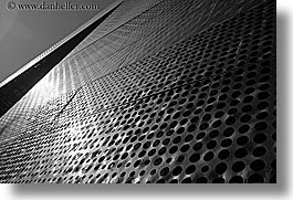 black and white, buildings, california, de young, de young museum, golden gate park, horizontal, museums, san francisco, textured, walls, west coast, western usa, photograph