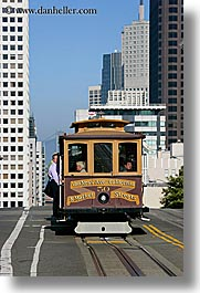 bay bridge, cable car, california, san francisco, streets, vertical, west coast, western usa, photograph