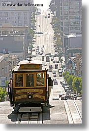 cable car, california, cars, san francisco, streets, traffic, vertical, west, west coast, western usa, photograph