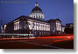 california, cities, city hall, horizontal, nite, san francisco, west coast, western usa, photograph