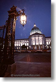 california, cities, city hall, nite, san francisco, vertical, west coast, western usa, photograph