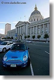 california, city hall, mini car, san francisco, vertical, west coast, western usa, photograph