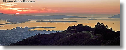 bay, california, cityscapes, horizontal, panoramic, san francisco, sunsets, west coast, western usa, photograph