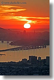 california, cityscapes, hazy, san francisco, sunsets, vertical, west coast, western usa, photograph