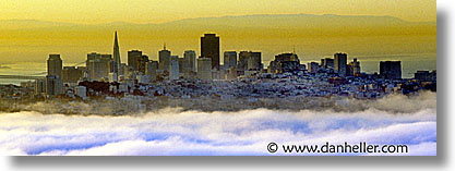 california, cities, cityscapes, fog, horizontal, panoramic, san francisco, west coast, western usa, photograph