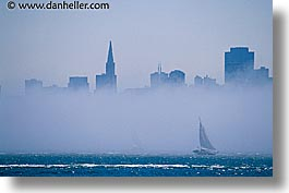california, cityscapes, fog, horizontal, sailboats, san francisco, west coast, western usa, photograph