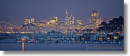 california, cityscapes, colors, horizontal, houseboats, hsboats, long exposure, nite, panoramic, san francisco, sausalito, west coast, western usa, photograph