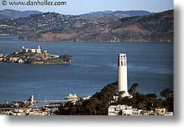 alcatraz, california, coit, coit tower, horizontal, san francisco, west coast, western usa, photograph