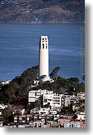 california, coit, coit tower, houses, san francisco, vertical, west coast, western usa, photograph