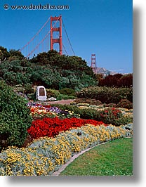 bridge, california, gardens, golden gate, national landmarks, san francisco, vertical, views, west coast, western usa, photograph