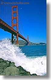 bridge, california, fort, ft point, golden gate, golden gate bridge, national landmarks, point, san francisco, splash, vertical, west coast, western usa, photograph
