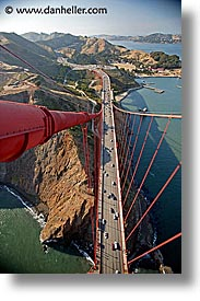 bridge, california, golden gate, headlands, looking north, national landmarks, san francisco, tops, vertical, views, west coast, western usa, photograph