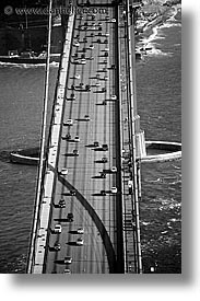 black and white, bridge, california, golden gate, national landmarks, san francisco, tops, traffic, vertical, views, west coast, western usa, photograph