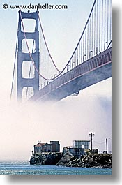 bridge, california, gate house, gates, golden gate, golden gate bridge, houses, national landmarks, san francisco, vertical, west coast, western usa, photograph