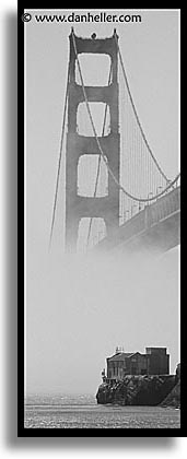 black and white, bridge, california, gate house, gates, golden gate, houses, national landmarks, old, san francisco, vertical, west coast, western usa, photograph