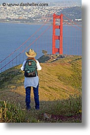 bridge, california, golden gate, golden gate bridge, headlands, hiking, jills, national landmarks, san francisco, vertical, west coast, western usa, photograph