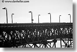 black and white, bridge, california, foggy, golden gate, golden gate bridge, horizontal, lampposts, lamps, national landmarks, san francisco, west coast, western usa, photograph