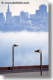bridge, california, foggy, golden gate, golden gate bridge, lampposts, lamps, national landmarks, san francisco, vertical, west coast, western usa, photograph