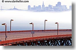 bridge, california, foggy, golden gate, golden gate bridge, horizontal, lampposts, lamps, national landmarks, san francisco, west coast, western usa, photograph