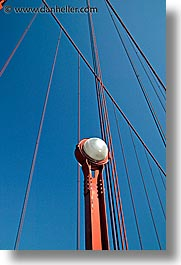 bridge, california, days, golden gate, golden gate bridge, lamps, national landmarks, san francisco, vertical, west coast, western usa, photograph