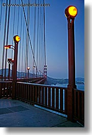 bridge, california, golden gate, golden gate bridge, lampposts, lamps, national landmarks, san francisco, vertical, west coast, western usa, photograph