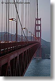 bridge, california, golden gate, golden gate bridge, lampposts, lamps, national landmarks, san francisco, slow exposure, vertical, west coast, western usa, photograph