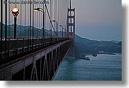 bridge, california, golden gate, golden gate bridge, horizontal, lampposts, lamps, national landmarks, san francisco, west coast, western usa, photograph