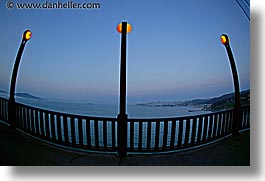 bridge, california, fisheye lens, golden gate, golden gate bridge, horizontal, lampposts, lamps, national landmarks, san francisco, west coast, western usa, photograph