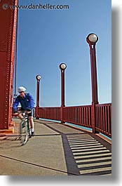 bridge, california, cyclists, golden gate, golden gate bridge, lamps, national landmarks, san francisco, vertical, west coast, western usa, photograph