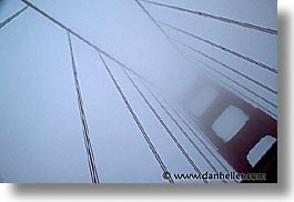 bridge, california, fog, golden gate, golden gate bridge, horizontal, looking up, national landmarks, san francisco, west coast, western usa, photograph