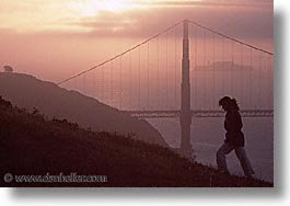 bridge, california, golden gate, golden gate bridge, horizontal, national landmarks, san francisco, silhouettes, west coast, western usa, photograph