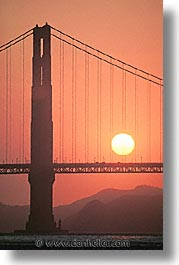 bridge, california, golden gate, golden gate bridge, national landmarks, san francisco, sunsets, vertical, west coast, western usa, photograph