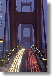 bridge, california, eve, evening, golden gate, golden gate bridge, national landmarks, san francisco, traffic, vertical, west coast, western usa, photograph