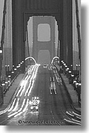 black and white, bridge, california, eve, evening, golden gate, golden gate bridge, national landmarks, san francisco, traffic, vertical, west coast, western usa, photograph