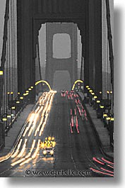 bridge, california, color composite, color/bw composite, eve, evening, golden gate, golden gate bridge, national landmarks, san francisco, traffic, vertical, west coast, western usa, photograph
