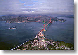 aerials, bridge, california, golden gate, golden gate bridge, horizontal, national landmarks, san francisco, west coast, western usa, photograph