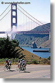 baker, bikes, bridge, california, fort, golden gate, golden gate bridge, national landmarks, san francisco, vertical, west coast, western usa, photograph