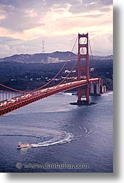 boats, bridge, california, golden gate, golden gate bridge, national landmarks, san francisco, vertical, west coast, western usa, photograph