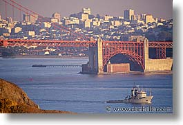 boats, bridge, california, golden gate, golden gate bridge, horizontal, national landmarks, san francisco, west coast, western usa, photograph