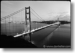 black and white, bridge, california, golden gate, golden gate bridge, horizontal, national landmarks, san francisco, west coast, western usa, photograph