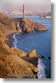 bridge, california, cliffs, golden gate, golden gate bridge, national landmarks, san francisco, vertical, west coast, western usa, photograph