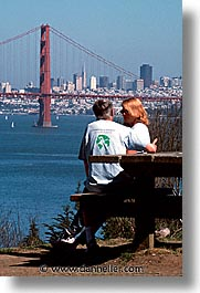 bridge, california, couples, golden gate, golden gate bridge, national landmarks, san francisco, vertical, views, west coast, western usa, photograph