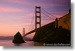 bridge, california, dawn, golden gate, golden gate bridge, horizontal, national landmarks, san francisco, west coast, western usa, photograph