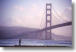 bridge, california, dogs, golden gate, golden gate bridge, horizontal, national landmarks, san francisco, west coast, western usa, photograph