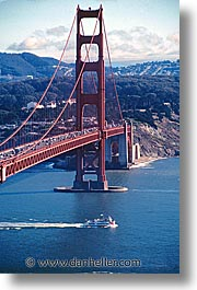bridge, california, ferry, golden gate, golden gate bridge, national landmarks, san francisco, vertical, west coast, western usa, photograph