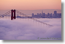 bridge, california, fog, golden gate, golden gate bridge, horizontal, national landmarks, san francisco, west coast, western usa, photograph