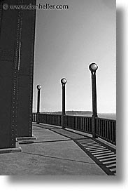 black and white, bridge, california, days, golden gate, golden gate bridge, lamps, national landmarks, san francisco, vertical, west coast, western usa, photograph