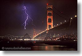 bridge, california, golden gate, golden gate bridge, horizontal, lightning, national landmarks, san francisco, west coast, western usa, photograph